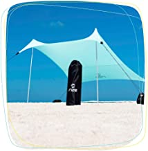 Rize Stakeless Sun Shade | Wind Resistant Canopy for The Beach | Ultra Lightweight and Portable with UPF 50 UV Protection | 7 x 7 Foot Shade with Sand Anchors