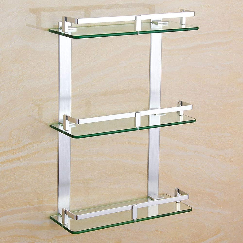 Ghelf Creative Simplicity Space Aluminum Three Floors Glass Shelf,Waterproof Moisture Proof Three-Tiered Space Bathroom Storage Rack,Multi-Function Toiletries Shelf (Size   30cm)