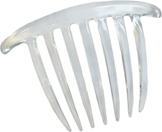 Parcelona French Twist 7 Teeth Large Clear Set of 2 Celluloid Side Hair Comb (Clear)