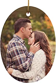 Yeh Gift Personalized Christmas Ornament Huge Collection with Cool Designs & Your Own Photo. Couples Baby First, Nightmare Before Christmas. Christmas Decorations for The Home - 1 Sided (Photo, Oval)