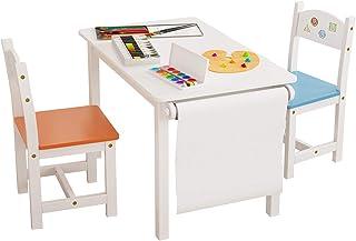 Homfa 3 en 1 Table et 2 Chaises d'enfant Ensemble Table et Chaise pour Enfant avec Volume en Bois Blanc