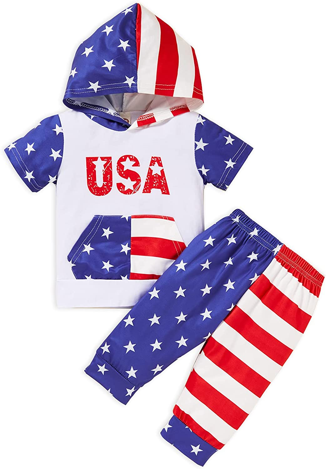 Sinhoon Baby Boy Independence Day Shorts Outfits Toddler July 4th Tank Tops Hat Print Pants 2Pcs Summer Clothes