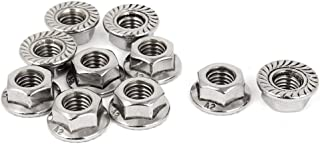 HHY M8x1.25mm 304 Stainless Steel Serrated Hex Flange Lock Nuts 10 Pcs