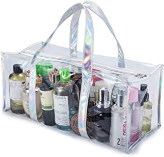 GigabitBest Clear Stadium Bag Transparent Tote Bag Large Beach Bag and Totes with Zipper Carry Shopping Bag for Women
