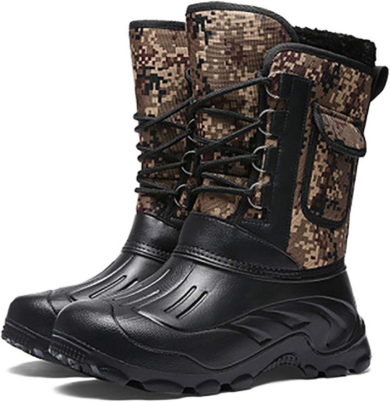 ZHRUI EVA Snow Boots Winter Men's Plus Velvet Outdoor Round Head Warm Camouflage Boots,Black,EU44 UK9 (color   -, Size   -)