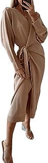 Byinns Womens Sexy Wrap Knitted Sweater Dresses with Belt Kimono Robes Loungewear Sleepwear