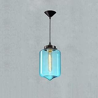 Baycher Modern Ceiling Pendant Light Single Head Hand Blown Blue Bubble Glass Cylinder Lampshade Pendant Lamp Dining Room Lighting Bar Kitchen Chandelier Hanging Lighting
