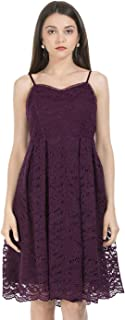 FabAlley net a-line Dress (DRS02930_Maroon_X-Small)