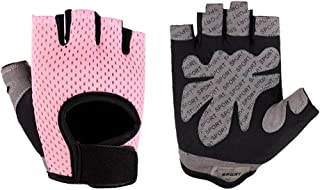LIUFULING Women's Half Finger Gloves Outdoor Breathable Gym Fitness Workout Gloves for Women (Color : Pink, Size : M)