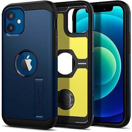 Spigen iPhone12 mini 用 ケース 5.4インチ 対応 米軍MIL規格取得 耐衝撃 三層構造 スタンド付き スマホスタンド カメラ保護 傷防止 衝撃 吸収 Qi充電 ワイヤレス充電 アイフォン12ミニケース タフ・アーマー ACS02301 (ネイビー・ブルー)