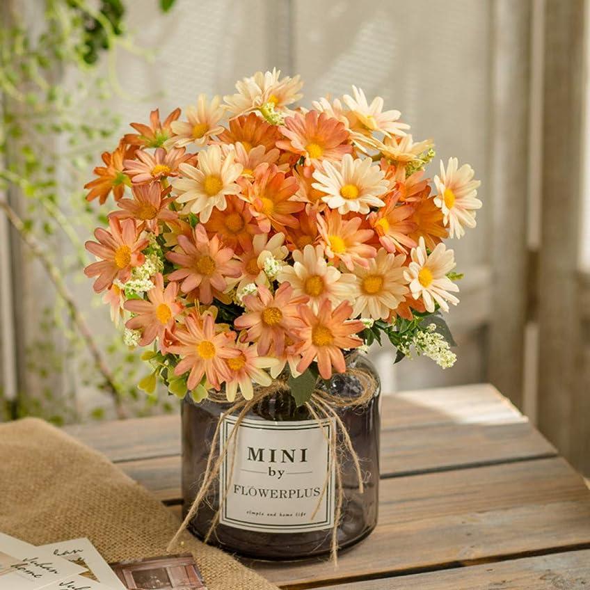 造花 菊 イエロー 人工観葉植物 枯れない花 アートフラワー 花瓶付き 本物そっくり プレゼント ギフト 花束 ブーケ お祝い お返し 父の日 母の日 誕生日 結婚式 バレンタインデー 手作り 装飾 インテリア 置物