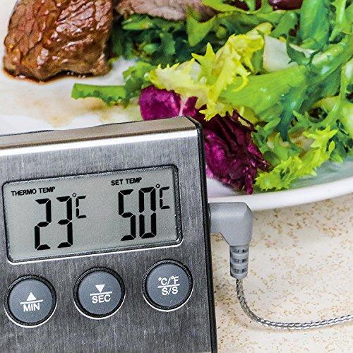 Prochef Digital Grillthermometer für Gasgrill und Ofen von Edelstahl mit Langes Kabel. Profi Bratenthermometer für Fleisch mit Hitze und Zeit Alarm. 100% Geld-zurück-Garantie.