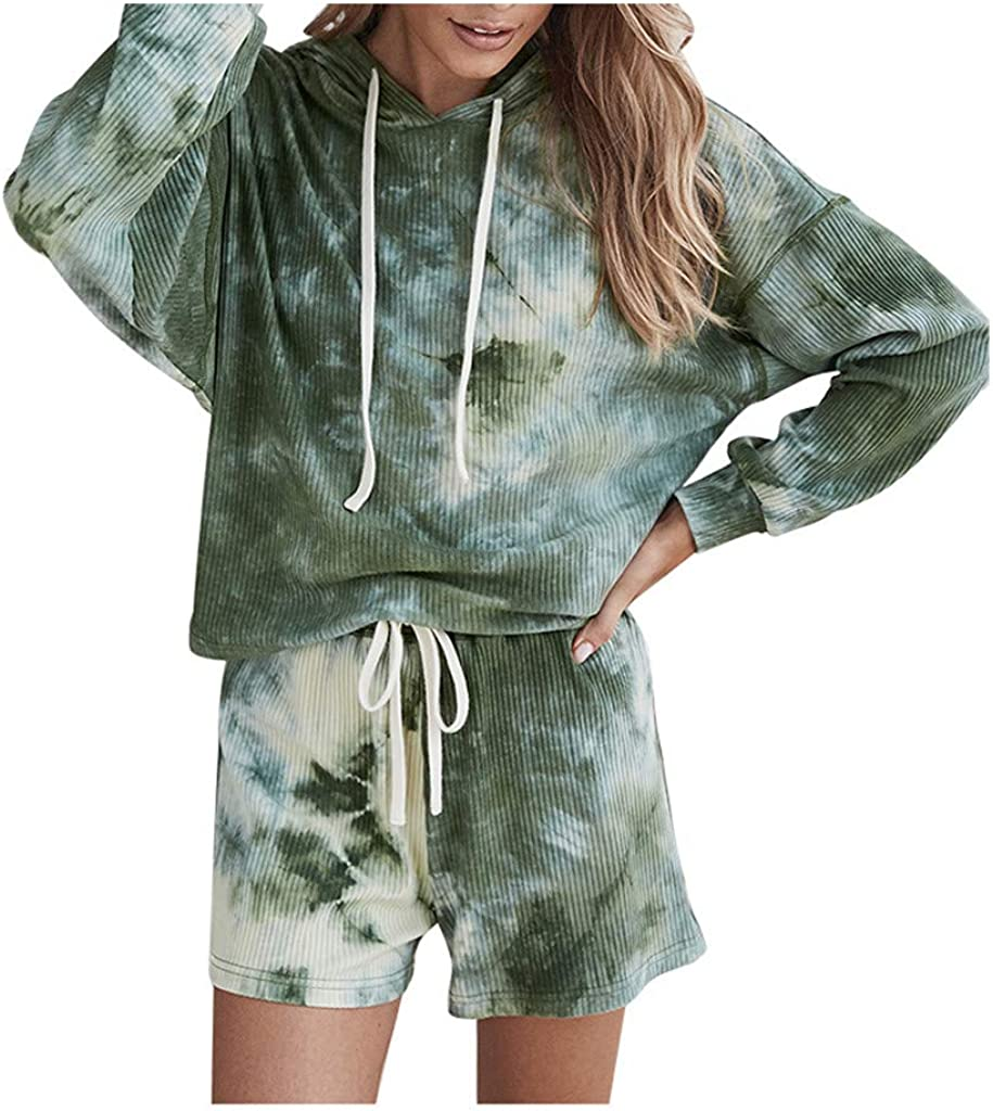 FABIURT Pajamas Sets for Women Gardient Printed Loungewear Sets Outfit Two Piece Long Sleeve PJ Set Nightwear Tracksuits