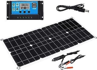 arthomer 40W 12V Panel Solar monocristalino con Controlador de Carga Ideal para Caravana, jardín häuse, con Conectores + Ventosa de 4 Piezas para Sistema de batería