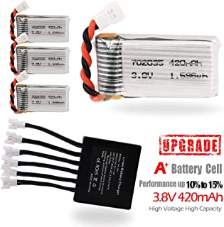 BTG Upgrade 3.8V 420mAh Lipo Battery + X6 Charger for Drones- Compatible with Holy Stone F180W F180C HS170 HS170C HS170G HS230 Hubsan X4 H107C H107D H107L H107P X708W U45 U45W V939 V252 U816A JXD385