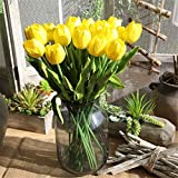 ONEYIM Artificial Flower Latex Real Touch Bridal Wedding Bouquet Home Decor Artificial Flowers Bouquet (Yellow, 10pcs)