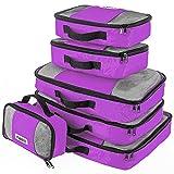 Savisto Packing Cubes, 6-teiliges Packtaschen Set für Urlaub, Reisen, Flugreisen - Ordnungssystem für Koffer, Handgepäck, Trolley, Reisetasche und Rucksack - Packwürfel S/M/L/XL (6 Pack) - Lila