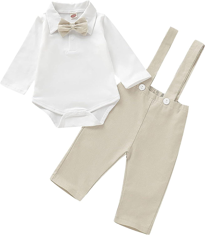 Manufacturer direct delivery DERCLIVE Baby Boys Bowtie Overalls with Formal Overseas parallel import regular item Romper Gentleman
