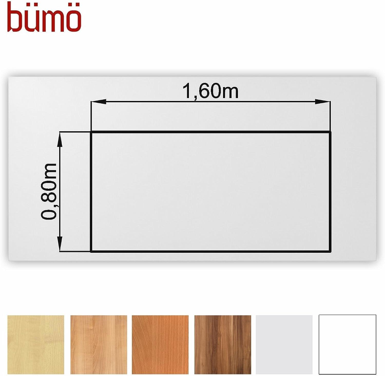 Büm stabile Tischplatte 2,5 cm stark - DIY Schreibtischplatte aus Holz  Bürotischplatte belastbar mit 120 kg  Spanholzplatte in vielen Formen & Dekoren Platte für Büro, Tisch & mehr (Rechteck  160 x 80 cm, Wei)