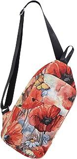 EZIOLY Mochila de hombro de amapolas con correa para el pecho, bolsa cruzada de viaje, senderismo, mochila para hombres y mujeres