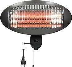 ECD Germany Calefactor por Infrarrojos para Exteriores 50 cm en 3 Pasos 650/1350/2000W 3 Elementos Calefactores Quarzo Radiador Terraza Radiante Calor Uniforme Estufa Montaje en Pared para Patio