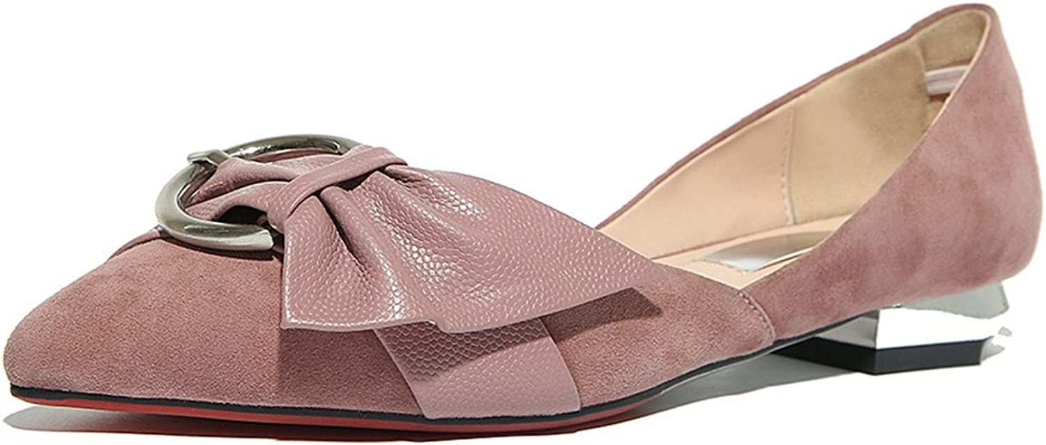 Nine Seven Suede Leather Women's Pointy Toe Comfort Handmade Dressy Flats shoes