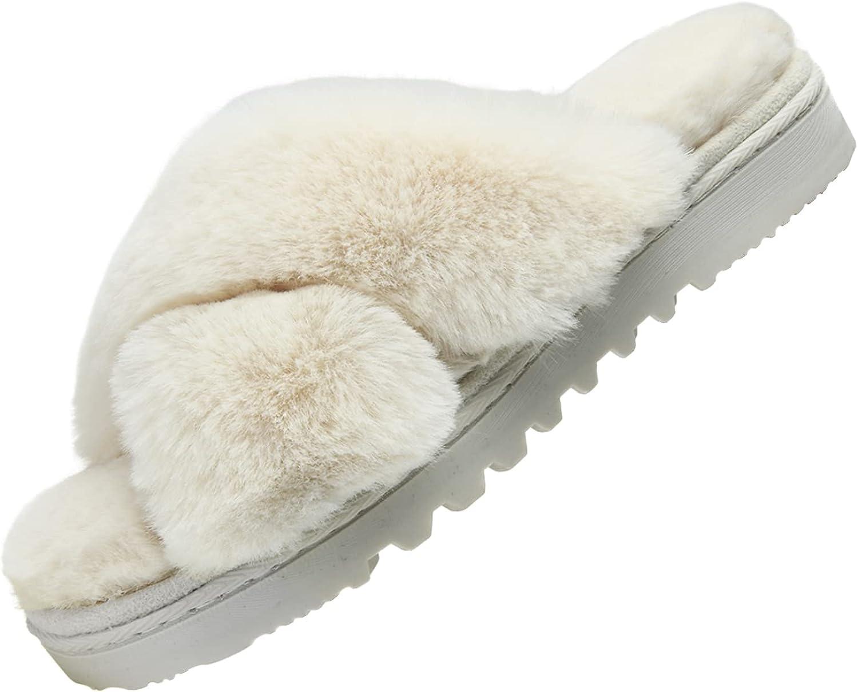 Telifor Womens-Fluffy-Memory-Foam-Cross-Band-Slippers Selling Indoor Fu Bargain sale