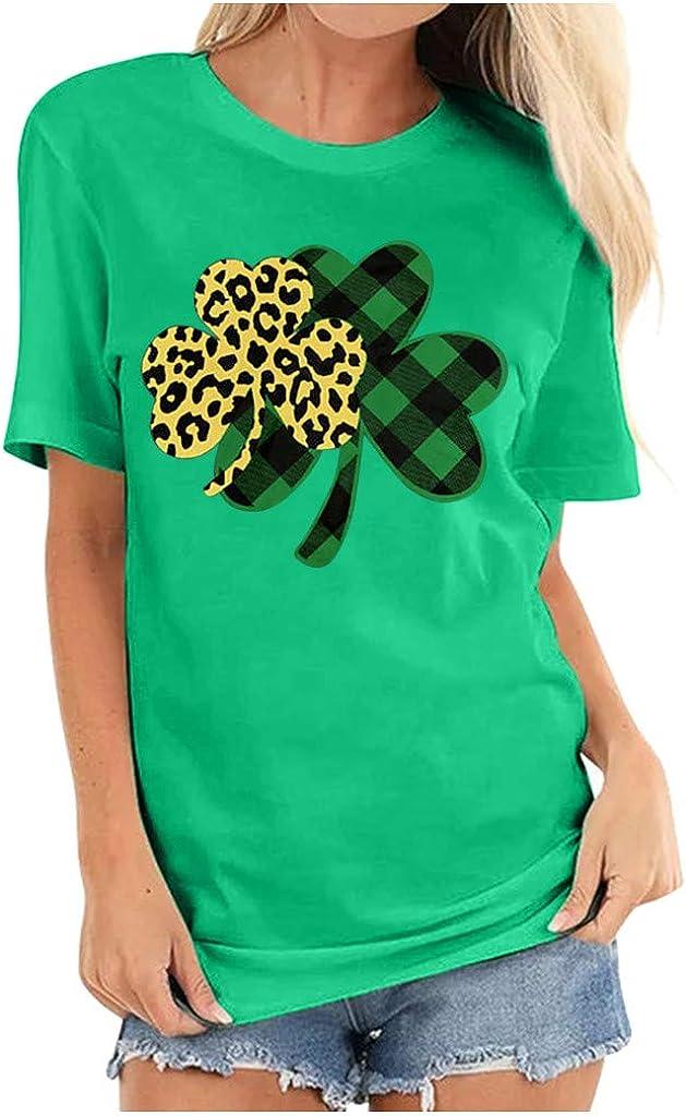 YUehswet St. Patrick Day Green Shamrock Tee Shirt Women Clover Vintage Tee Top Four Leaf Retro V Neck T Shirts