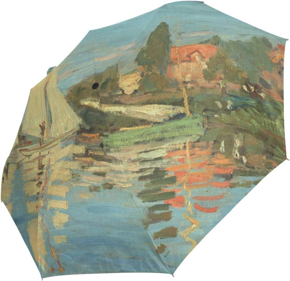 Auto Open Close mart Travel Umbrella Claude French Monet Oc unisex Sailboat