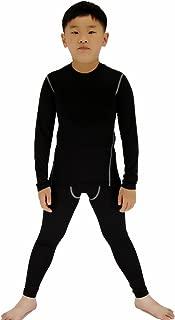 Boys Soccer Practice Long Sleeve Shirt & Pants 2PCS Compression Set