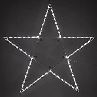 Kringle Traditions 4' LED Folding Star Decoration, 70 Cool White Lights - Outdoor Lighted Star, Lighted Outdoor Stars