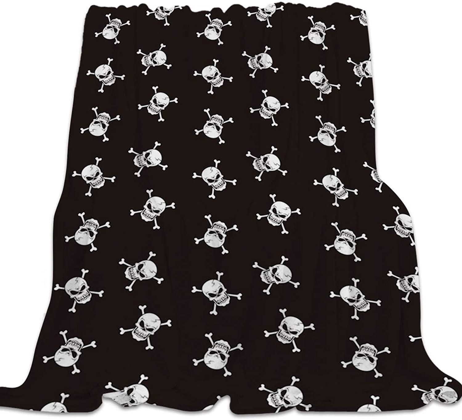 YEHO Art Gallery Flannel Fleece Bed Blanket Super Soft Cozy Throw-Blankets for Kids Girls Boys,Lightweight Blankets for Bed Sofa Couch Chair Day Nap,Black and White Skull Head Pattern,39x49inch