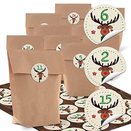 SET Adventskalender basteln 24 natur braun Papiertüte + 1 bis 24 Zahlen Nummern Aufkleber HIRSCH rot grün Adventskalenderzahlen Befüllen Tüten