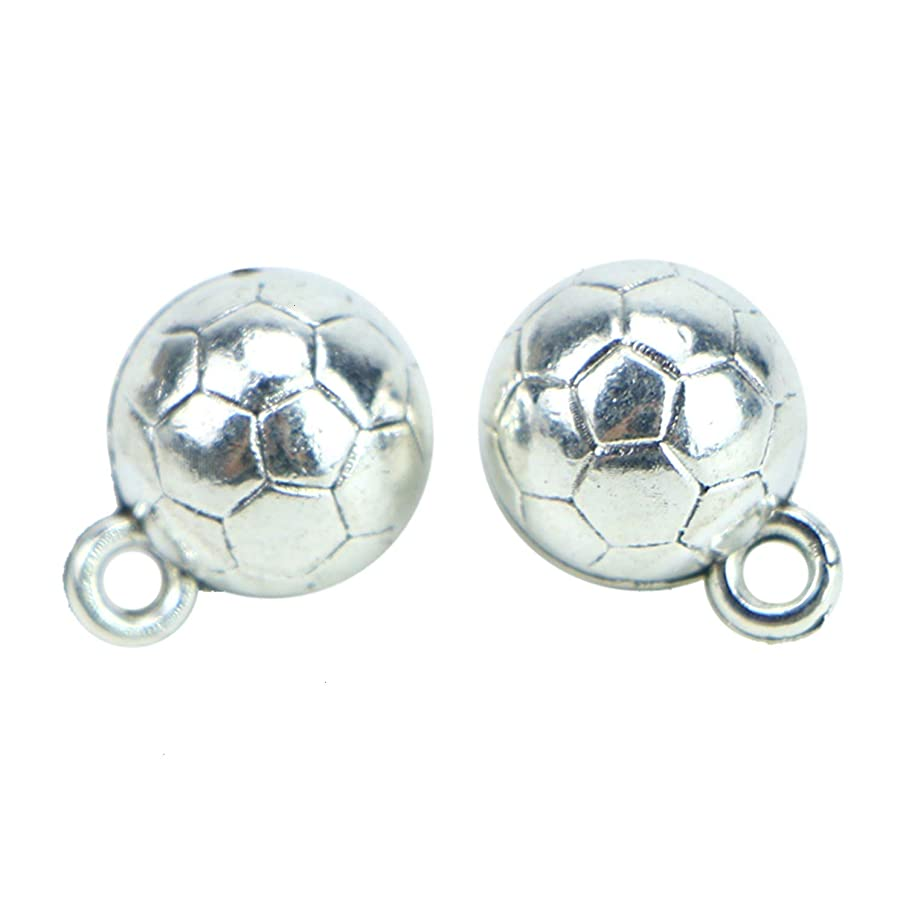 Monrocco 50Pcs Soccer Ball Antique Silver Charms Pendants for Jewelry Making and Crafing