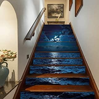 Marteylink Night Staircase Stickers,Majestic Dramatic Sky Clouds and Full Moon Over Seascape Calm Tranquil Ocean Self-Adhesive Wall Stair Stickers Mural Wallpaper for Home Decor,39.3
