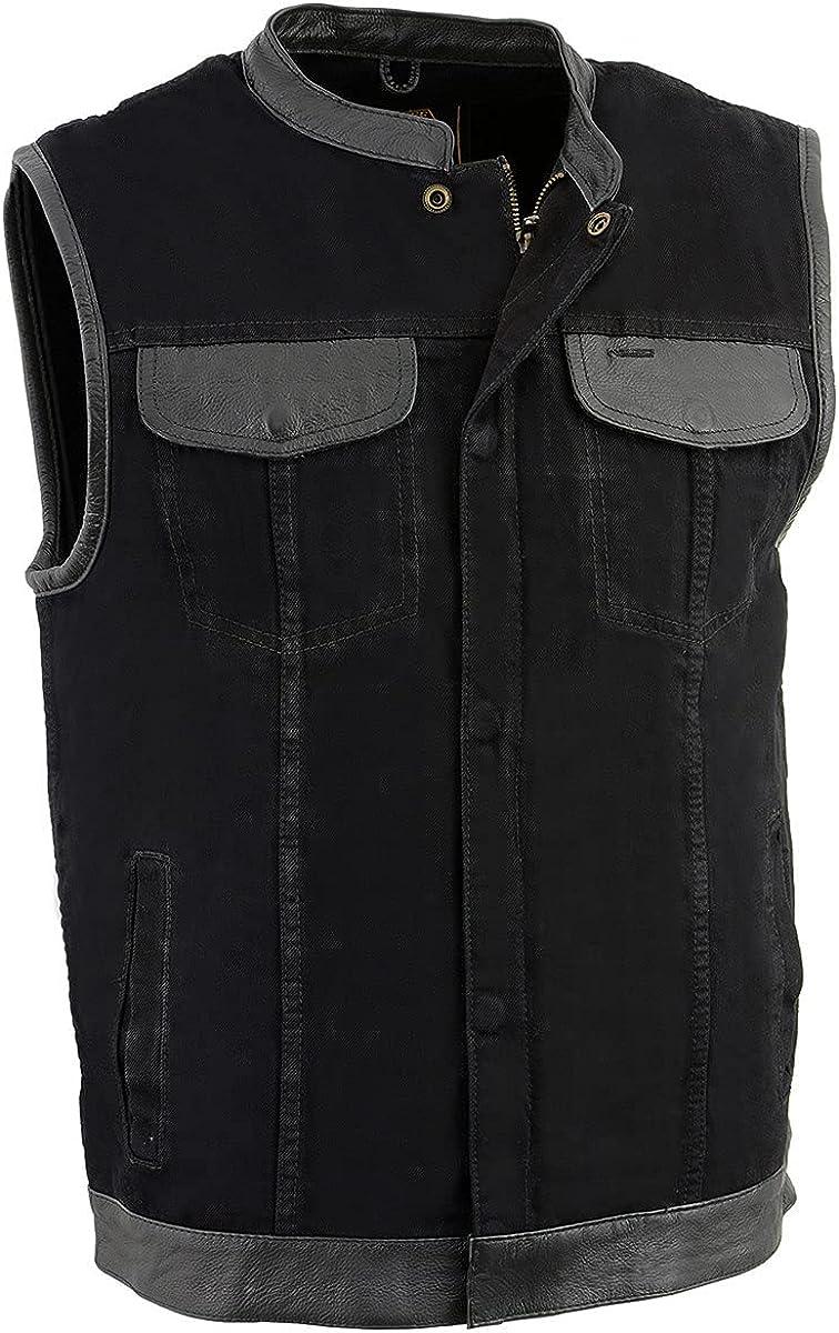Milwaukee Leather MDM3010 Men's Black Denim Club Vest with Leather Trim and Hidden Zipper