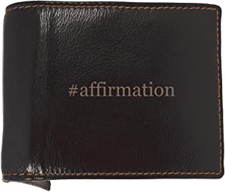 #affirmation - Soft Hashtag Cowhide Genuine Engraved Bifold Leather Wallet