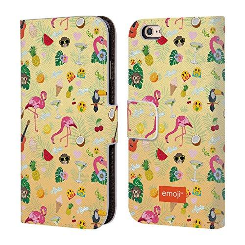 Head Case Designs Oficial Emoji Patrón Flamingos Carcasa de Cuero Tipo Libro Compatible con Apple iPhone 6 / iPhone 6s
