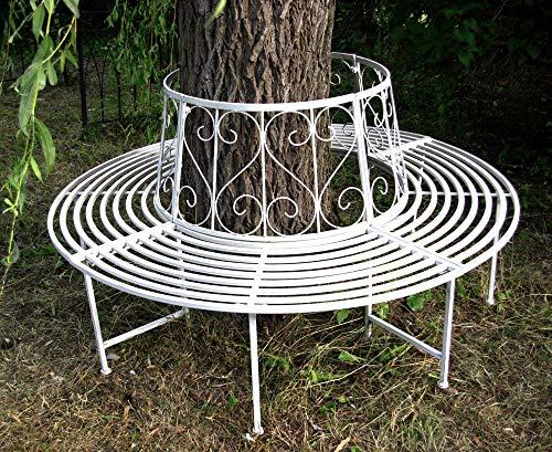 GeKi Trend Baumbank antik weiß Metall Schmiedeeisen 360° rund Ø 161 cm Rundbank Baum massiv Parkbank Gartenbank stabil 23 kg