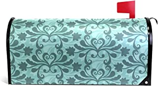 Bruyu5se Mailbox Covers Magnetic Free Vector Teal Western Flourish Pattern Standard 21 x 18 Inches Waterproof Canvas Mailbox Cover