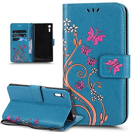 Coque Sony Xperia XZ,Etui Sony Xperia XZ,Peint coloré Embosser Papillon fleur Housse Cuir PU Etui Housse en Cuir Portefeuille de Protection Flip Case Portefeuille Etui Coque pour Sony Xperia XZ,Bleu