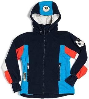 Kingsland Equestrian Unisex Modesto Fleece Jacket with Removeable Hood-Navy/Cream/Red