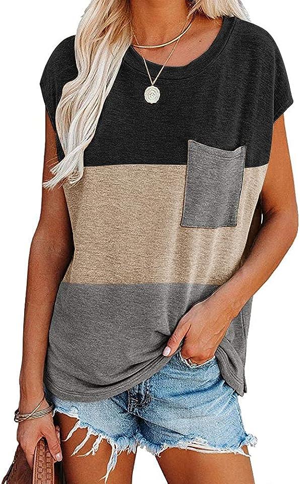 Damen T-Shirt Sommer Kurzarm Tops Shirts Casual Basic Rundhals Farbblock Oberteile