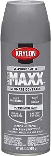 Krylon K09151007 COVERMAXX Spray Paint, Matte Deep Gray, 12 Ounce