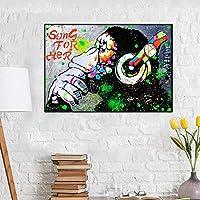 彼女のポスターとプリントの落書きアートウォール面白い猿の歌リビングルームの装飾のためのキャンバスプリントウォールアートの写真60x80cm(23.6x31.5インチ)フレームなし