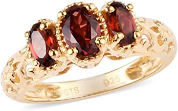 14K Yellow Gold Plated 925 Sterling Silver Openwork Trilogy Statement Ring Oval Garnet Jewelry for Women Ct 0.9