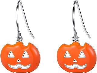 DAOSHANG Spooky Halloween Pumpkin Earrings S925 Sterling Silver Cute Pumpkin Earrings Long Dangle Halloween Party Earrings for Women Girls