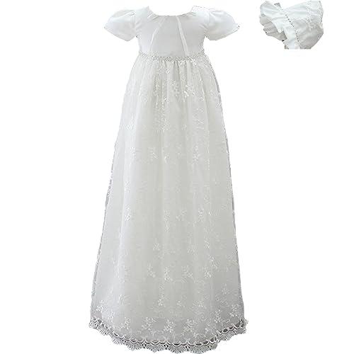 AHAHA Vestidos Largos del Bautizo de Las Muchachas del Bebé Vestido Formal del Bautismo de la Ocasión Especial con el Sombrero y la Venda