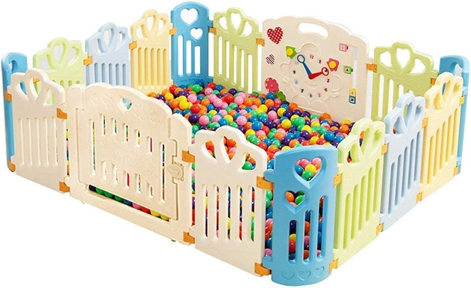 Baby Safety Fence 16 Panel Portable Independent Activity Center with Crawling Mat (color   Multicolor)