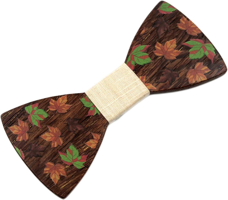 Andongnywell Wood Bow Tie Classic Handmade Mens Wooden Bowtie Adjustable Creative Wedding Party Bow Ties Neckties